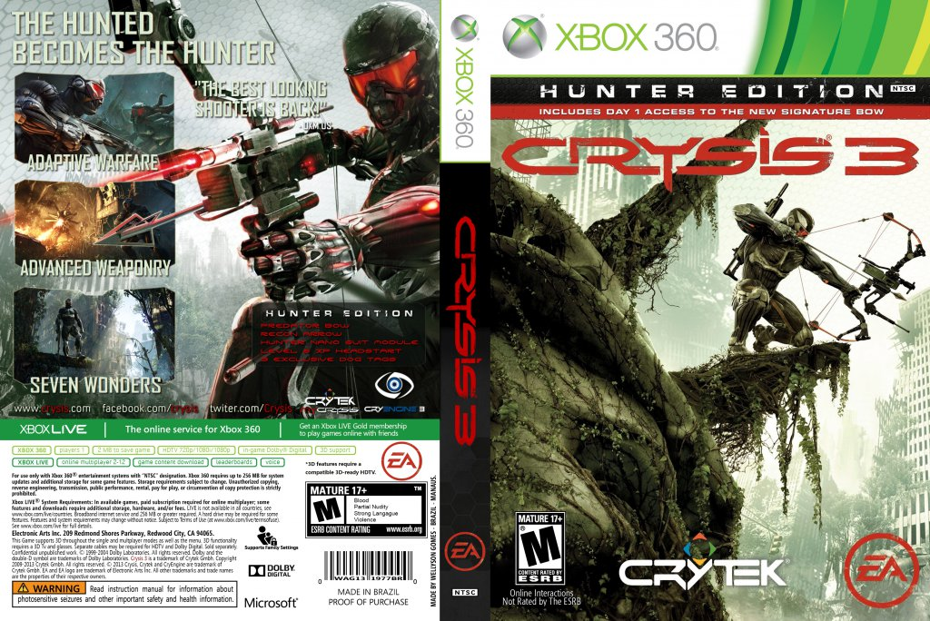 Crysis 3 - XBOX 360 Game Covers - crysis 3 2013 wellyson ...